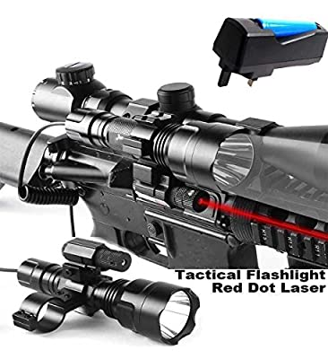 Cree XML T6 Tactical Scope Mount Light Lamp Red Dot Laser Hunting Gun Air Rifle + Battery +Charger by Maketheone