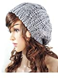 Fashion Winter Women Lady Beret Braided Baggy Beanie Crochet Knitting Hat Cap (Light Grey)