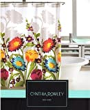 """Shower Curtain Floral Fabric Designer Cynthia Rowley 72"""" X 72"""" Large Bold Flowers with Shadows on White"""