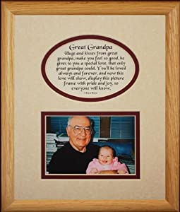8x10 GREAT GRANDPA Picture & Poetry Photo Gift Frame ~ Cream/Burgundy Mat ~ Heartfelt Keepsake Picture Frame for Great Grandpa from Great Grandchild or Great Grandkids ~ Gift Idea for Great Grandparents, Birthday or Christmas