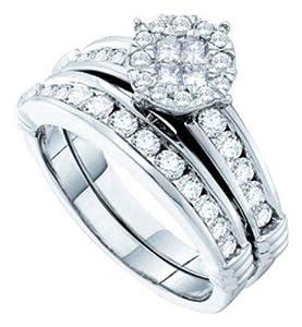Pricegems 14K White Gold Ladies Princess Diamond Invisible Set Bridal Ring Size: 6.5)