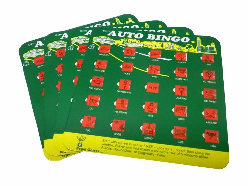 Buy Green Auto Backseat Bingo Pack of 4 Bingo Cards Great For Family Vactions Car Rides and Road Tri...
