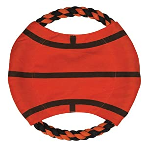 Zanies Sports Canvas/Rope Flyers Dog Toy, Basketball, 8-1/2-Inch