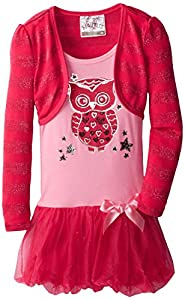 Beautees Little Girls' Stripe Shrug Over Owl Bubble, Hot Pink, 6x