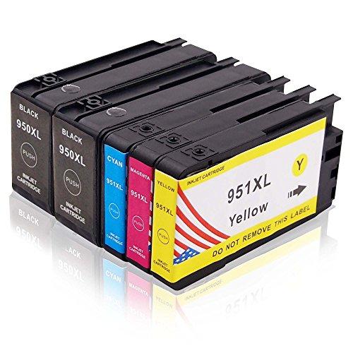 Toner Kingdom 5er Pack(1 set + 1 schwarz) Tintenpatronen kompatibel für HP 950XL 951XL, für HP Officejet Pro 8600 8100 8610 8620 8630 8640 8860 276dw 251dw