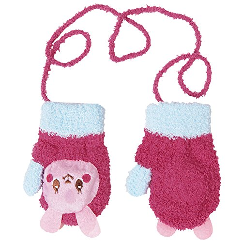 Evelin LEE Baby Cute Cartoon Hanging Neck String Mitten Gloves Winter Fleece (Rabbit)
