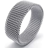 KONOV Jewelry 8mm Flexible Stainless Steel Screen Mens Womens Ring, Woven Mesh Band, Silver