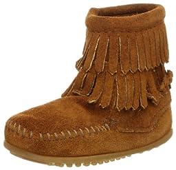 Minnetonka Double Fringe Side Zip Boot (Toddler/Little Kid/Big Kid),Brown,8 M US Toddler