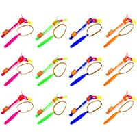 Set Of 12 Flashing LED Sling Shot Flare Arrow Helicopter Childrens Kids Toy Flyer (Colors May Vary)