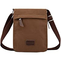 Berchirly Small Vintage Canvas and Leather Crossbody Bag (Coffee)