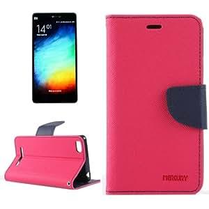Cross Texture Horizontal Flip Leather Case with Holder & Card Slots & Wallet for Xiaomi Mi 4i (Magenta + Dark Blue)