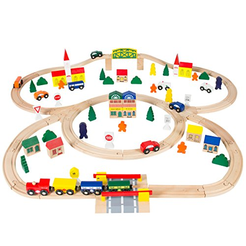 Best-Choice-Products-100pc-Hand-Crafted-Wooden-Train-Set-Triple-Loop-Railway-Wood-Track-Kids-Toy-Play-Set