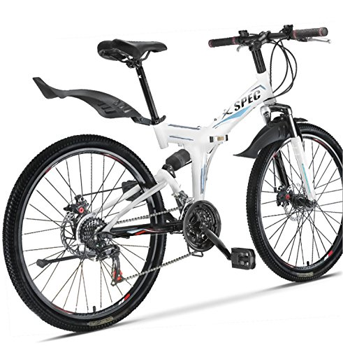 "Big Save! Xspec 26"" 21 Speed Folding Mountain Bike Bicycle Trail Commuter Shimano White"