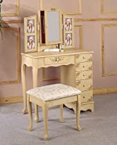 Hot Sale Hand Painted Floral Cream Bedroom Vanity and Armoire Set with Photo Ladders