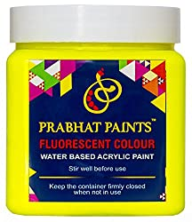 Prabhat Paints Water Based Fluorescent Paint (500 g, Matt Lemon Yellow,Glows only under UV Tube Light or UV Bulb)