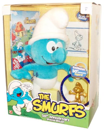 Picture of Jakks Pacific The Smurfs 50th Anniversary Special Edition 13 Inch Plush Figure with Sound Plus Bonus Collectible First Skecth Replica of