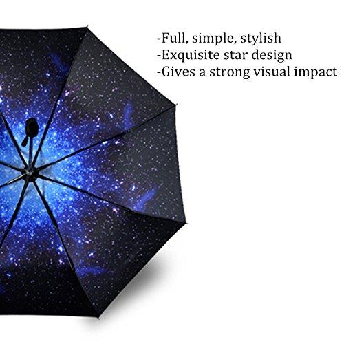 CAMTOA Regenschirm Sky Stern Schirm Taschenschirm,Automatik faltbar kompakt Vinyl Sonnenschirm UV-Schutz winddicht Regenschirm,Stern -