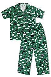 GreenApple Boys Organic Cotton Farm Print Pyjama Set (FVGA071, Green, 7-8 Years)
