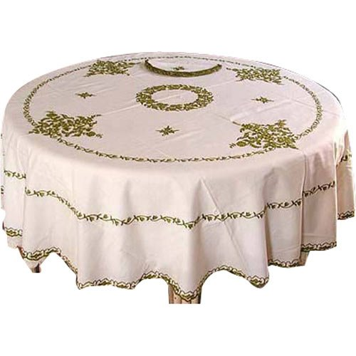 White Cotton Embroidered Table Cloth with Napkins
