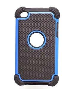 Bracevor Triple Layer Defender Hard Shell Back case cover for Apple iPod Touch 4 (Blue)