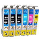 6 High Capacity Compatible Ink Cartridges for Epson XP-305 Printer 3 Black 1 Cyan 1 Magenta 1 Yellow