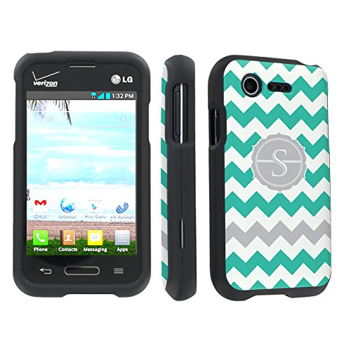 Skinguardz Lg L34C Optimus Fuel / Zone 2 Vs415 Full Protection Hard Case - (Mint Chevron Monogram Initial S Black) front-777042