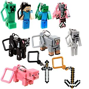 Minecraft 3 inch Hangers/Action Figures.Complete Party Bag set of 10