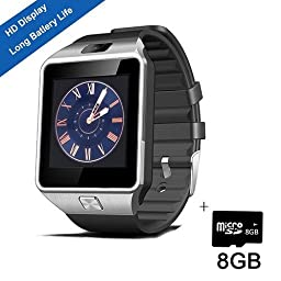 Smart Watch,SHONCO Smartwatch Bluetooth Watch Phone Watch DZ09 Sync to Samsung S6 /S5 /Note 2/3 /4,Nexus 6,HTC,Sony,LG and Other Android Smartphones (Black)+ 8GB Micro SD Card