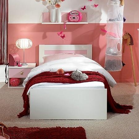 Kinderzimmer Bett »KINGDOM« alpinweiß - rosé