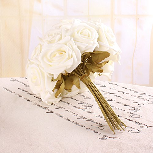 1Dozen DIY Rose Foam Flower Perfect for Wedding Bouquet Bride Bridal Hydrangea Party Home Decoration Flora (Cream Ivory)