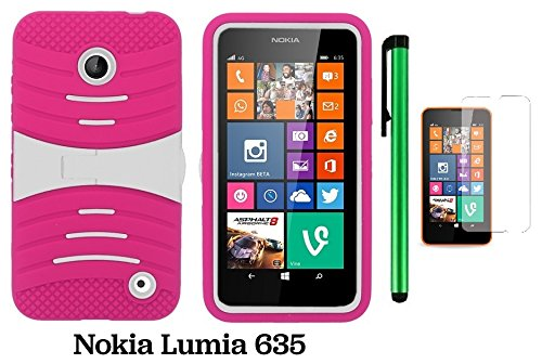 Nokia Lumia 635 / Nokia Lumia 630 Premium Pretty Ucase With Kickstand Cover Case (Us Carrier: T-Mobile, Metropcs, And At&T) + Screen Protector Film + 1 Of New Assorted Color Metal Stylus Touch Screen Pen (Pink / White)