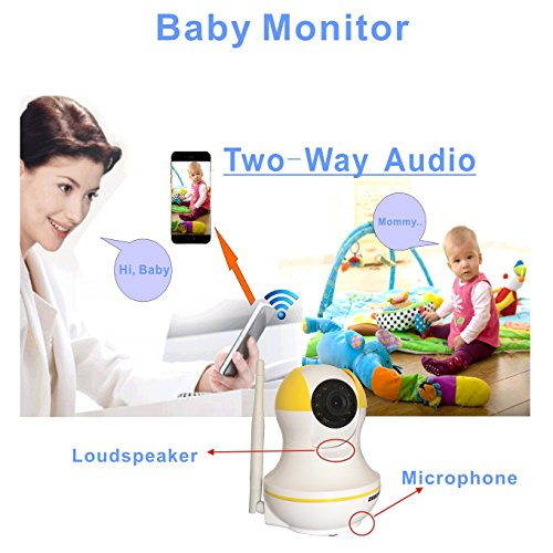 ZEBORA ZS03Y Baby Monitor, Pet Monitor with Two Way Audio, 960P Remote Wireless WiFi Internet IP Indoor Security Camera, Surveillance Monitoring Camera with Video Recording and Night Vision, Yellow.