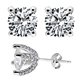 Wow Designer Inspired Sterling Silver 925 Earrings 4.00 Carat Diamond Simulated Round Cut Stones Set in Heavy Handmade and Handset Pave Settings