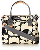 Orla Kiely Laminated Shoulder Bag,Black/Cream,One Size