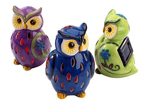 Lightahead 174 Solar Owl Light Ceramic Owl Powered By Solar