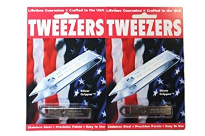 2 Pack Uncle Bills Sliver Gripper Precision Tweezers