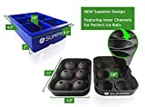 Sphere Ice Mold & Big Ice Cube Tray Novelty - SUMPRI [2 Pack] Ice Ball Maker - Silicone Ice Cube Molds - The ONLY TWO-COLOR Set Available - Ice Ball Molds With New Design Featuring Inner Channels