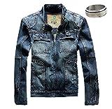 (K-JOY) メンズ デニムジャケット ライダース Gジャン ma1 jacket ヴィンテージ風 (英字リング付) クラッシュ 367-2 (L)