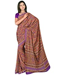 Sehgall Sarees Indian Professional Ethnic Poly Silk Crape Colour Purple
