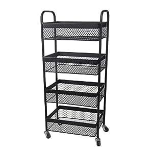 4 Tier Wire Mesh Rolling Storage Cart