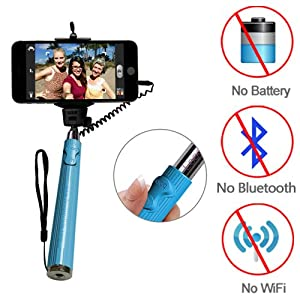 Looq DG_The Third Generation Selfie Monopod, Patented Wired Extendable Selfie Pole for Android and iOS Smart Phones, Selfie Stick Needs No Battery, No Wifi, No Bluetooth, Save Battery Power; Compatible with iPhone 6/ 6 Plus! Green_Pink_Blue