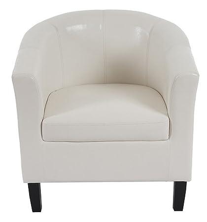 Fauteuil en simili-cuir coloris blanc - Dim : H 76 x L 73 x P 60 cm -PEGANE-