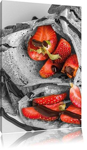 délicieuses crêpes aux fraises et glaçage au chocolat noir / blanc, taille: 80x120 sur toile angulaire élevée, XXL énormes Photos complètement encadrées avec civière, impression d'art sur murale avec cadre, moins cher que la peinture ou une peinture à l'huile, pas une affiche ou une bannière,