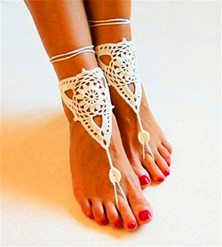 Generic One Pair Barefoot Sandals, Foot Jewelry, Beach Wear, Yoga, Foot Thongs, Bridal bridesmaid wedding sandals, Crochet Sandals FB02(white)