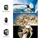 Mozeat Lens 3 in 1 Clip-on Cell Phone Camera Lens Kit, 198 ° Fisheye Lens + 150 ° Wide Angle Lens + 15X Macro Lens for iPhone, Android and Windows Smartphones, Portable Lens Box for Travel included