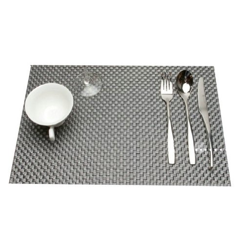 Ayygift High Grade Classic Pvc Beige Series Dining Room Placemats Heat Insulation Waterproof Table Mat Anti-Skid Eat Mat Cup Mat (Xs-D2-Grey)