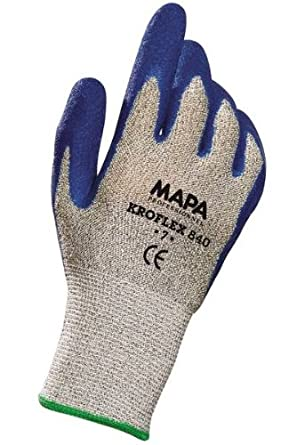 "MAPA Kromet 840 Natural Rubber Heavy Duty Glove, 10"" Length, Size 7"