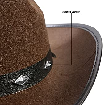 f634bf1947f Cowboy Hat With Studs - Brown Western Cowgirl Hats Funny Party Hats ...