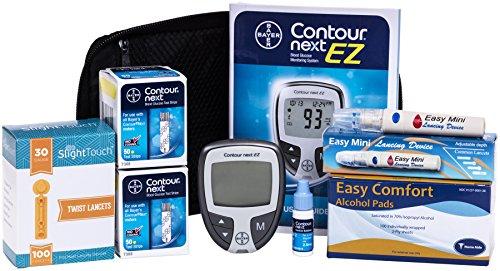 Contour Next Diabetes Testing Kit – Contour Next Ez Meter, 100 Bayer Contour Next Test Strips, 100 30g Lancets, 1 Lancing Device, 100 Alcohol Prep Pads and Control Solution…