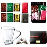 カフェグラス付コーヒーギフトセットC(ホルダー付グラス1個・ドリップ式コーヒー・ココアラテ・抹茶ラテ・紅茶(アッサム)ティーバッグのセット)